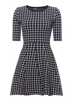 TOPSHOP Gebreide A-lijn jurk met grid-dessin • de Bijenkorf