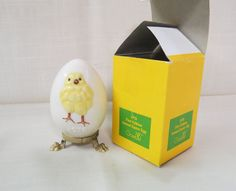 Vintage 1978 Geobel Easter Egg With Box Easter Chick Full Bee Mark West Germany by KansasKardsStudio on Etsy