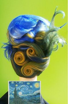 Matrix Announces July Mannequin Mania Semifinalists. Avant Garde Hair. Yellow, Blue, Green Hair Color. UpStyle. Vincent Van Gogh The Starry Night, Inspired.