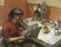 London Artist Ruskin Spear (1911 – 1990) : Girl at Table (England, c.1940)