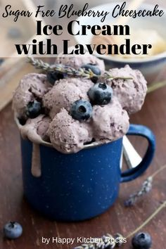 Easy sugar free blueberry cheesecake ice cream is a delicious dessert made from just 5 ingredients! This recipe can be used without an ice cream maker. Easy Homemade Ice Cream, Diy Ice Cream, No Churn Ice Cream, Cheesecake Ice Cream, Blueberry Cheesecake, Blueberry Ice Cream, Happy Kitchen, Frozen Desserts, Frozen Treats