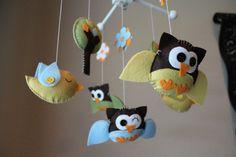 Baby Crib Mobile - Baby Mobile - Birds Owls Mobile -