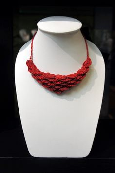 Cotton wax crochet necklace
