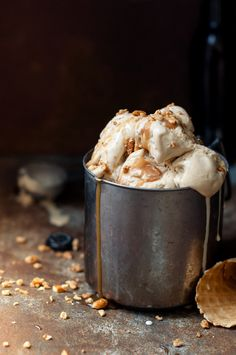 Brown Ale Ice Cream with Salty Caramel