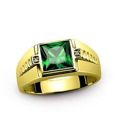 Men's Ring with Green Emerald Gemstone and Natural Diamonds in 14K Yellow Gold