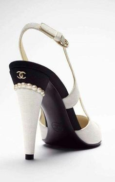 Stunning Chanel black and white high heeled sandals, pearl heels