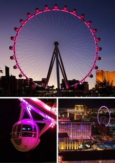 The High Roller--This gigantic observation/Ferris wheel is brand new to Las Vegas. It is like the London Eye, but bigger. Surprisingly it really is a fun ride as pods are big enough to feature whole groups of friends, and even your own bar and bartender. Las Vegas Vacation, Vegas Fun, Travel Vegas, Vegas Getaway, Vegas Theme, Cruise Travel, Disney Cruise, Hawaii Travel, Vacation Destinations