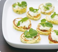 Lemon Herb Fritters with Goat Cheese from Annabel Langbein are great with pre-dinner drinks! www.annabel-langbein.com