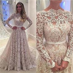 Long Sleeves Lace A-line Floor-Length with small tail Formal Simple Prom Dress ,PD0239 The wedding dresses are fully lined, 4 bones in the bodice, chest pad in the bust, lace up back or zipper back ar