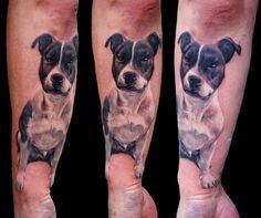 #pit-bull #Stafford #realistic #dog #color #portrait #forearm #arm #Dublin #tattoo #studio #Ireland #best #ink