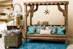 Rich Blue Luxurious Pillows on a Bali Style Bench www.TaramundiFurniture.com
