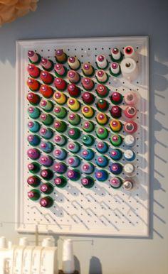 thread rack: scrap pegboard, dowels, trim