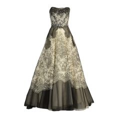 Showstopping 1950's Nan Duskin Black and White Organza and Lace Gown   From a collection of rare vintage evening dresses at https://www.1stdibs.com/fashion/clothing/evening-dresses/