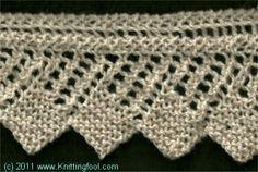 Square Edge Lace Edging - Knittingfool Stitch Detail