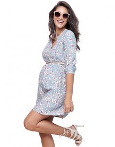 Sky Blue Floral Woven Maternity Dress