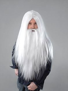 "18/"" Long White Wig Wizard Princess Unisex Halloween Fancy Dress"