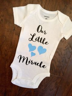 Our Little Miracle Baby Bodysuit - Our Little Miracle Onesie - Photo Shoot Prop - Baby Announcement One Piece - New Baby Bodysuit - pinned by pin4etsy.com