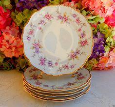6 Vintage Edelstein German Porcelain Dinner Plates Delphine Pink Lavender Gold #Edelstein
