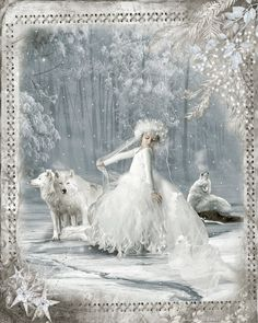 GIF Winter Pictures, Christmas Pictures, Fantasy Wolf, Fantasy Art, Paul Verlaine, Dances With Wolves, She Wolf, Rainer Maria Rilke, Christmas Scenes