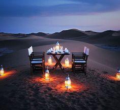 Romantic desert dinner with dessert in the Sahara ///