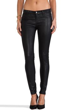J Brand Midrise Legging in Coated Black from REVOLVEclothing