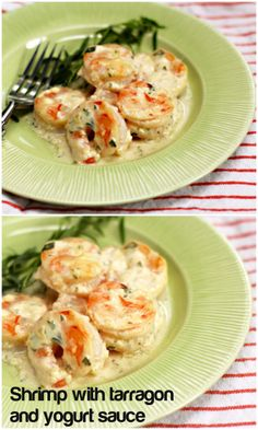 Shrimp with tarragon and yogurt sauce makes an easy and elegant appetizer.