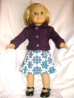 Doll clothes/ IRIS/PURPLE Skirt/ Sweater/Fits American Girl 18 inch doll. #HANDMADE