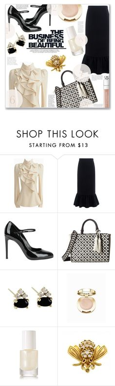 """""""Office Wear"""" by jckallan ❤ liked on Polyvore featuring Edit, Casadei, Tory Burch, Milani, rms beauty, Tiffany & Co. and contestentry"""