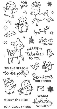 Snow play / penguin / Transparent Clear Stamps for DIY Scrapbooking / Card Making / Kids .Snow play / penguin / Transparent Clear Stamps for DIY Scrapbooking / Card Making / Kids Christmas Fun Decoration Bullet Journal Writing, Bullet Journal Ideas Pages, Bullet Journal Inspiration, December Bullet Journal, Christmas Doodles, Kids Christmas, Christmas Crafts, Easy Christmas Drawings, Christmas Decorations