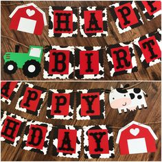 Excited to share this article from my # etsy shop: Farm Theme Happy Birthday Banner, . Farm Animal Birthday, Tractor Birthday, Boy First Birthday, 1st Boy Birthday, Happy Birthday Banners, Birthday Cards, Farm Themed Party, Barnyard Party, Farm Party