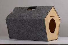 grey pet-house for cat by HolinDesign by HolinDesign on Etsy Cat Climbing Wall, Cute Animals Images, Cat Tree House, Cool Dog Houses, Cat Towers, Dog Area, Dog Furniture, Cat Playground, Cat Room