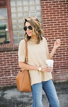 Beige sweater and Celine tote