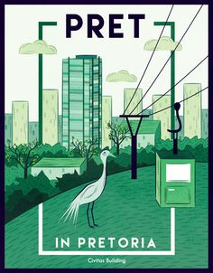 """Pret in Pretoria"" by Maggie de Vos ___postcards celebrating Pretoria. Architecture Student Portfolio, Colourful Buildings, Pretoria, Vintage Travel Posters, Africa Travel, Color Theory, Poster City, Postcards, World"