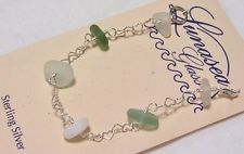 LUNASEA TREASURES SEA GLASS GREEN WHITE DRILLED STERLING SILVER BRACELET 6 3/4""