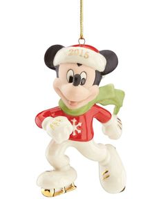 Lenox 2015 Off To The Rink Mickey Mouse Dated Ornament