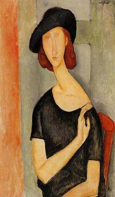 "Modigliani, ""Portrait of Jeanne Hébuterne (au Chapeau)"" Amedeo Modigliani, Modigliani Portraits, Modigliani Paintings, Italian Painters, Italian Artist, Pierre Auguste Renoir, Edouard Manet, Kandinsky, Oeuvre D'art"