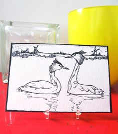 Original Art Postcard Mailed to You from Holland: Great Crested Grebe Water Bird (Fuut). $11.00, via Etsy.