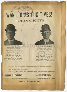 Wanted Notices - 2 Vintage Police Sheets - Philadelphia, Kansas City - 1912 | eBay