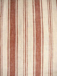 Kitchen cushion?  French Belgian Linen ticking fabric by Libeco Antibes Old Red Stripe