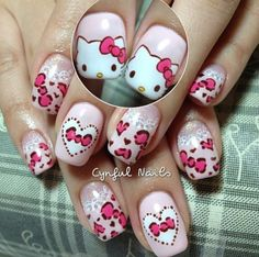 20 Cute Hello Kitty Nail Art Designs - Page 3 of 20 - Beautyhihi Nail Art Designs, Latest Nail Designs, Nail Polish Designs, Cute Nail Art, 3d Nail Art, Love Nails, Pretty Nails, Hello Kitty Nails, Stiletto Nail Art