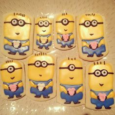 Sugar cookies made with royal icing Minions Valentine's Day
