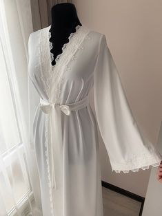 Long bridal robe with lace Ivory robe morning lingerie Lace Bridal Robe, Bridal Robes, Bridal Lingerie, Sleepwear Women, Pajamas Women, Long Kimono, Gowns Online, Lace Sleeves, Maternity Dresses