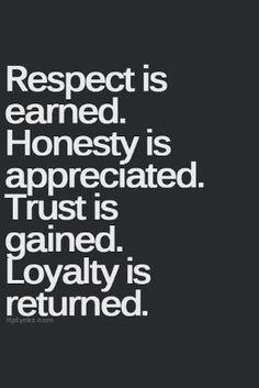 """""""Respect Is Earned. Honesty Is Appreciated. Trust Is Gained. Loyalty Is Returned"""" by joann"""