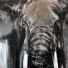 Elefant 74,160 x 200 cm, Mixed Media auf Leinwand
