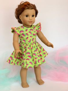 American Doll Clothes, Girl Doll Clothes, Girl Dolls, Watermelon Designs, Gathered Skirt, 18 Inch Doll, American Girl, Cool Girl, Designer Dresses