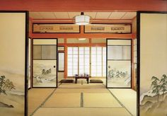 Fusuma :a sliding door made of a wooden frame faced with paper or cloth. Now usually called Shoji.
