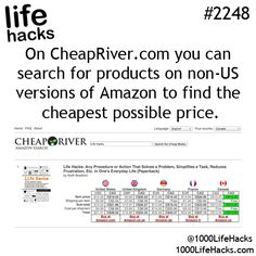 Check out our Life Hacks book: http://amzn.to/1O8gzos and then find the cheapest price for it at http://CheapRiver.com