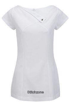 Beauty Tunic Wide V-Neck: 5 Colours Sizes 6 - 30 Hair Nails Beauty Massage Scrubs Outfit, Scrubs Uniform, Nursing Dress, Nursing Clothes, Beauty Tunics, Greys Anatomy Scrubs, Medical Uniforms, Uniform Design, Fashion Dresses