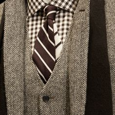 The geometric patterns of herringbone and gingham Brooks Brothers
