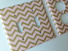 Pink Gold Chevron Double Light Switch Plate by COUTURELIGHTPLATES Pink gold nursery decor, pink gold decor , gold nursery , pink nursery , gold shimmer, gold glitter decor #pinkgoldnursery #goldshimmerdecor #goldglitterdecor #goldnursery #teenroomdecor #pinkgoldbday